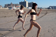 December 13,2020 Coney Island Polar Bear Club enjoys beautiful weather while people stroll the boardwalk and enjoy the sunny weather before the predicted snow storm to hit the East Coast on Wednesday.Alex and Ava