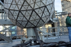 December 27 , 2020   New York City . Workers on roof of One Times Square prepare the New Years Eve Ball  by replacing crystals and checking the wiring for the big night