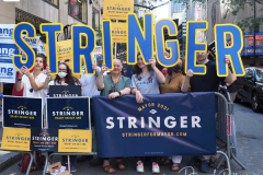 Scott Stringer supporters at a Pre-Debate Rally for the final Mayoral debate before Election Day.outside 30 Rockefeller Center in New York City on 15 June 2021