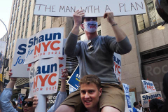 Shaun Donovan r supporters at a Pre-Debate Rally for the final Mayoral debate before Election Day.outside 30 Rockefeller Center in New York City on 15 June 2021