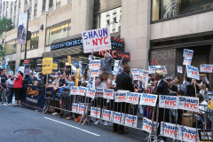 Shaun Donovan  supporters at a Pre-Debate Rally for the final Mayoral debate before Election Day.outside 30 Rockefeller Center in New York City on 15 June 2021