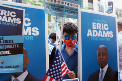 Eric Adams supporters at a Pre-Debate Rally for the final Mayoral debate before Election Day.outside 30 Rockefeller Center in New York City on 15 June 2021
