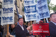 Andrew Yang Supporters at a Pre-Debate Rally for the final Mayoral debate before Election Day outside 30 Rockefeller Center in New York City