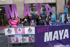 Maya Wiley Supporters at a Pre-Debate Rally for the final Mayoral debate before Election Day outside 30 Rockefeller Center in New York City