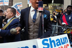 Shaun Donovan supporters at a Pre-Debate Rally for the final Mayoral debate before Election Day outside 30 Rockefeller Center in New York City