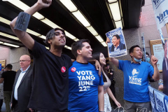 Andrew Yang supporters for the final Mayoral debate before Election Day outside 30 Rockefeller Center in New York City
