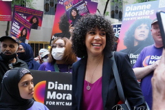 Mayoral Candidate Diane Morales at a Pre-Debate Rally for the final Mayoral debate before Election Day outside 30 Rockefeller Center in New York City
