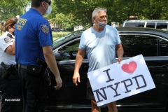 """Peaceful Rally in Support of the NYPD was interrupted by Black Lives Matter protestors .""""BLM"""" protestors tried to incite the Pro police  but NYPD stepped in to control the situation which was held in Marine Park Brooklyn.  Police from the 63rd Precinct and officers from the Bronx were on patrol in the park.     7/19/2020"""