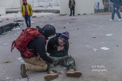 Washington, DC - January 6, 2021: Trump supporter injured by tear gas in front of Capitol building where pro-Trump supporters riot and breached the Capitol