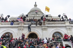 Washington, DC - January 6, 2021: Protesters seen all over Capitol building where pro-Trump supporters riot and breached the Capitol