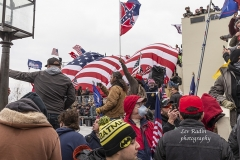 Washington, DC - January 6, 2021: Pro-Trump protesters seen on and around Capitol building