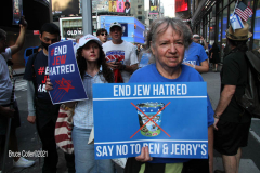 New York,Assembly Members Daniel Rosenthal and Simcha Eichenstein hold a protest to #EndJewHatred at Ben & Jerry's, and to oppose antisemitic and illegal commercial boycotts against Jews and Israel. Ben & Jerry's at 200 W. 44th Street, Manhattan. HeshyTischler  stirs up the crowd. and a counter protest backing Ben & Jerry's was held across the street from the anti Ben & Jerry's protest