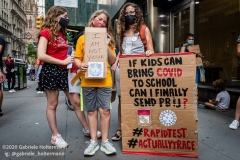 A coalition of activists, educators, parents, and students protest to stop the in-person reopening of  New York City public schools amidst the COOVID-19 pandemic in New York City on August 3, 2020. (Photo by Gabriele Holtermann/Sipa USA)