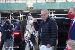 Senator Chuck Schumer and NYC elected officials hold press conference at the corner 14th street and 6th ave.