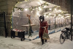 Outdoor Restaurants were forced to shut down early in New York City due the biggest storm in several years which is expecting to dump more than a foot of snow on the area.