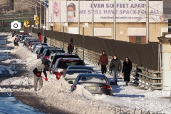 Digging out cars on Riverside Drive in Manhattan