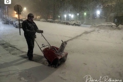 A man uses a snowblower to remove snow away from the sidewalk on Manhattan's Upper West Side. Outdoor Restaurants were forced to shut down early in New York City due the biggest storm in several years which is expecting to dump more than a foot of snow on the area.