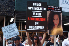 .Anti -Vaxxers protest the opening of Bruce Springsteen's Broadway show at the Saint James theater in Manhattan.