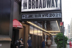 """""""Springsteen on Broadway"""" opened tonight for a return to Broadway at the St. James Theater, the first event on a Broadway stage since the Pandemic. Protestors outside were against the vaccine and having to show proof in order tone able to see the show. Springsteen was rushed in a back entrance to avoid the protestors in New York City on 26 June 2021"""