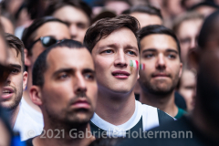 A few hundred Italy fans cheer on their Azzurri in the Euro Cup 2020 final against England outside Ribalta Italian restaurant on E12th Street in New York City on July 11, 2021. Italy beat the Three Lions 3-2 on penalties after a 1-1 draw. (Photo by Gabriele Holtermann/Sipa USA)