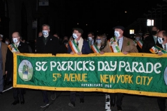 New York - St. Patricks day parade during Covid pandemic. The parade started in 1762 and has continued straight thru without a break.This year it has been modified no spectators where allowed to watch and   the march started at 6:30 am with a 8:30am church service at Saint Patricks Cathedral. N.Y.C. Mayor Bill de Blasio marched in the parade along with the fighting 69th soldiers.