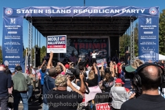 Congressional Candidate Nicole Malliotakis speaks to Trump supporters at a pro-Republican and pro-Law and Order rally on Staten Island, New York on October 3, 2020.  The rally comes a day after President Trump was hospitalized for COVID-19. (Photo by Gabriele Holtermann/Sipa USA)