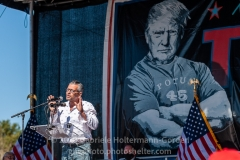 Staten Island artist Scott LoBaido speaks to Trump supporters at a pro-Republican and pro-Law and Order rally on Staten Island, New York on October 3, 2020.  The rally comes a day after President Trump was hospitalized for COVID-19. (Photo by Gabriele Holtermann/Sipa USA)