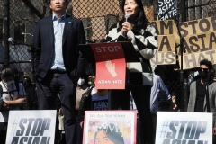 """Democratic mayoral candidate Andrew Yang and his wife, Evelyn Yang, speak to people as they take part in a rally against hate at Columbus Park in China Town in New York Members and supporters of the Asian-American community attend a """"rally against hate"""" at Columbus Park in New York City on 21 March 2021. Three massage parlors around Atlanta were targeted March 16, 2021, and a 21-year-old suspect was arrested. Robert Aaron Long faces eight counts of murder and one charge of aggravated assault."""