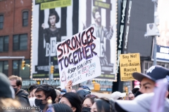 New York-  Stop the Hate Rally and March held in Times Square. speakers and celebrities gathered at the Red steps and then marched down to foley square to meet up with other protestors and continued to march over the Brooklyn Bridge to Cadmen plaza. Photos: Reiko Yanagi