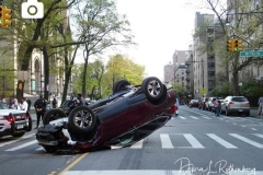A Honda Accord and a Honda CR-V SUV collided on Amsterdam Avenue and West 113rd Street in Manhattan, causing the SUV to flip over. Witnesses were unsure of the details but say they believe the Honda Accord was going at an excessive speed and the SUV swerved, causing it to flip over. Both drivers were brought to the hospital.