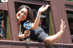 Nina Pineda from ABC-TV  attends the Hometown Heroes Ticker-tape Parade along the Canyon of Heroes on July 7, 2021 in New York. The parade included a variety of different floats, representing the groups of essential workers who served this city heroically throughout the pandemic.