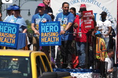 Mayor Bill de Blasio attends the Hometown Heroes Ticker-tape Parade along the Canyon of Heroes on July 7, 2021 in New York. The parade included a variety of different floats, representing the groups of essential workers who served this city heroically throughout the pandemic.