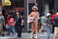 New York's Times Square is getting back to business even though the Delta Variant  number of cases are starting to creep up. The Naked Cowboy,The  Naked Cowgirl, The Costume Characters were all outside on a beautiful day trying to make money. Some other strange folks were also enjoying the sights as well.