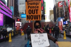 New York City, Trump Pence get out now Rally held in Times Square.