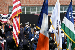 USCG Sector New York UPH Renaming Ceremony June 09, 2021 Sector New York Staten Island, NY  For credit:  Mary DiBiase Blaich The US Coast Guard renamed personnel housing after a NYPD/USCG Reserve 9/11 hero, Vincent G Danz. He died responding to the 9/11 attack.  Attending the ceremony were Police Commissioner Dermot Shea; Sector New York Commander Zeita Merchant; Angela Danz-Donohue, widow of Vincent Danz; and their three children.