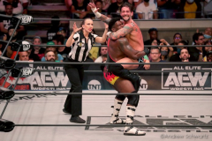 Pictured: CM Punk and Powerhouse Hobbs. Wrestlers from AEW (All Elite Wrestling) fought each other in the ring under the roof of Arthur Ashe Stadium in Flushing NY on September 22, 2021 during a live televised broadcast of AEW Rampage: Grand Slam.