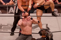 Pictured: Jon Moxley, Lance Archer and Minoru Suzuki Wrestlers from AEW (All Elite Wrestling) fought each other in the ring under the roof of Arthur Ashe Stadium in Flushing NY on September 22, 2021 during a live televised broadcast of AEW Rampage: Grand Slam. (Photo by Andrew Schwartz)