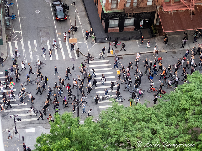 Greenwich Street, Manhattan-Protests From The Terrace