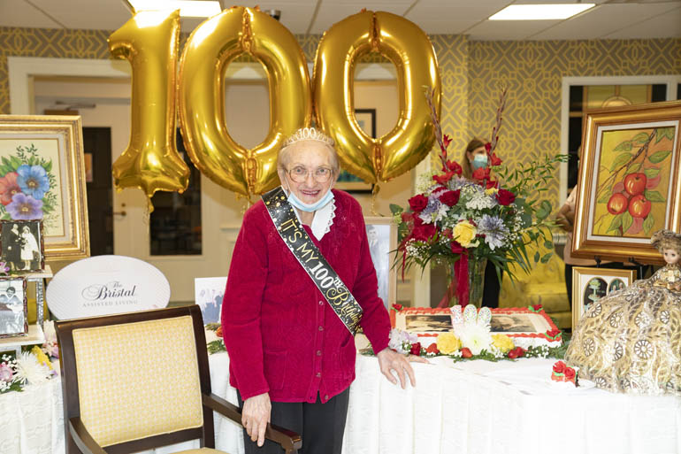 Irina Zaretti, beat COVID-19 and celebrated her 100th birthday with her family at The Bristal at Westbury Westbury, NY