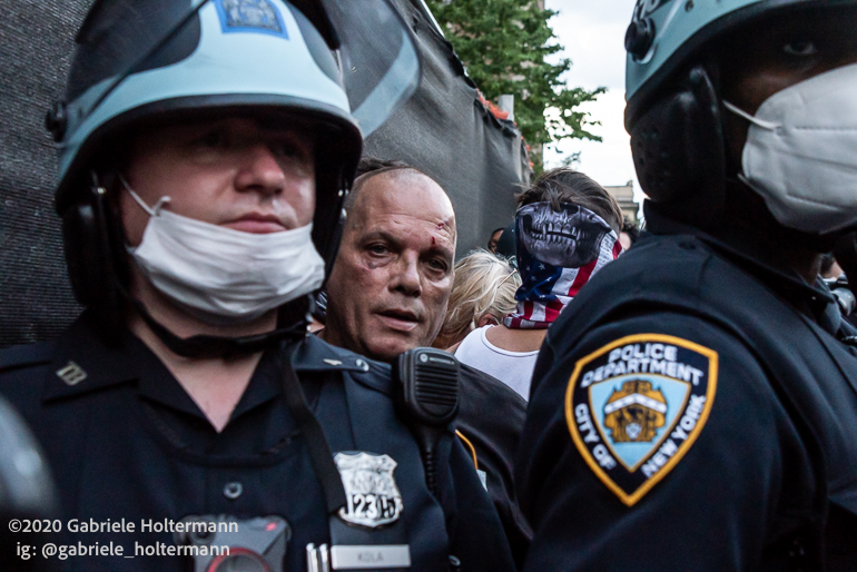 Black Lives Matter Supporters Clash with NYPD Supporters at a Blue Lives Matter Rally