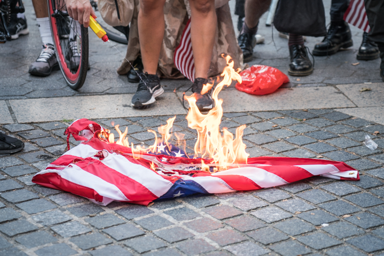 Flag Burning Rally outside Trump Towers in Columbus Circle