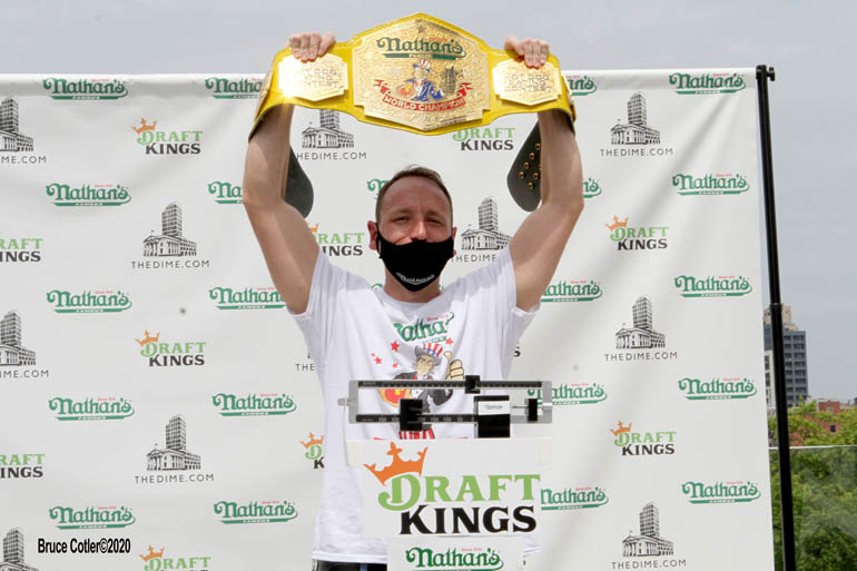 Official weigh- in Nathan's International Hot Dog Eating contest