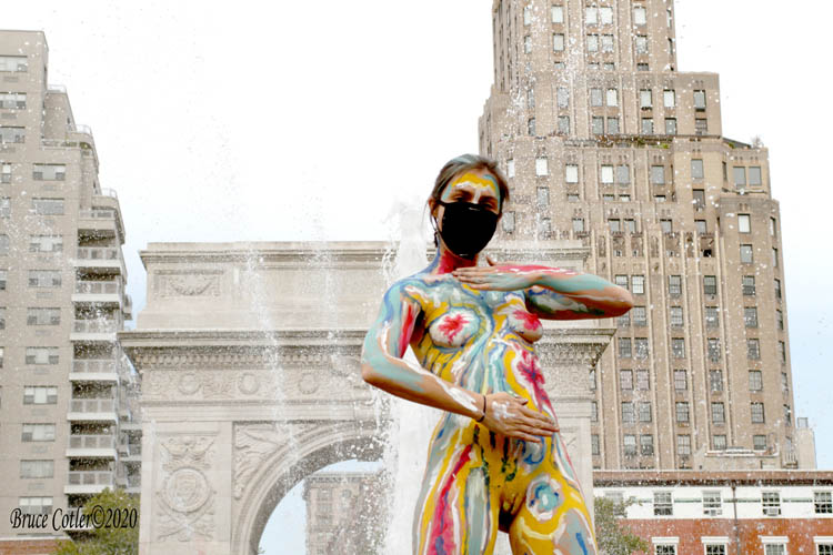 Human Connection Arts holds a body painting event at Washington Square Park.