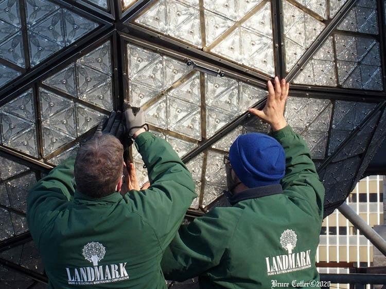 Workers Prepare the New Years Eve Ball. Coney Island Polar Bears