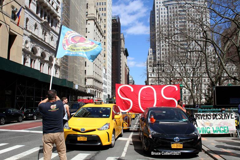 N.Y. Taxi Alliance Protest Near City Hall