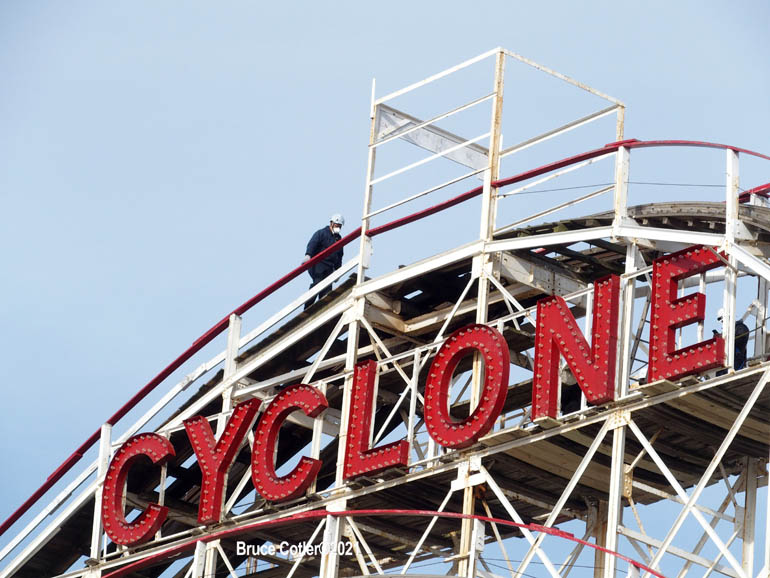 Workers Get The World Famous Cyclone Roller Coaster For Opening of Summer Season