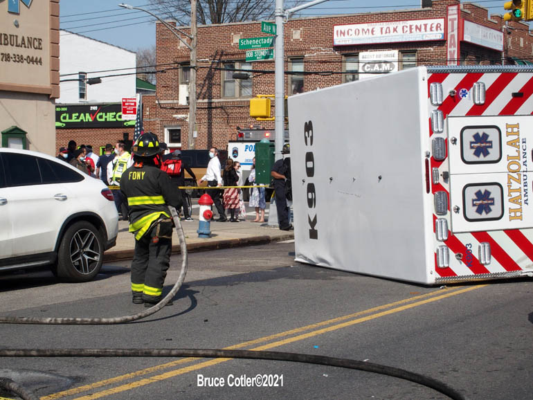 Multiple Vehicle Accident with Ambulance Rollover in Brooklyn
