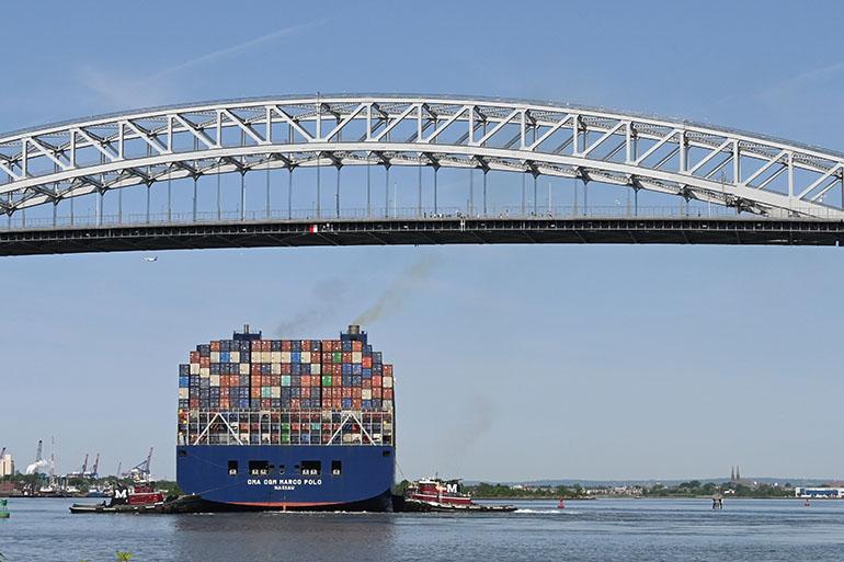CMA CGM Marco Polo Sails Into New York Harbor
