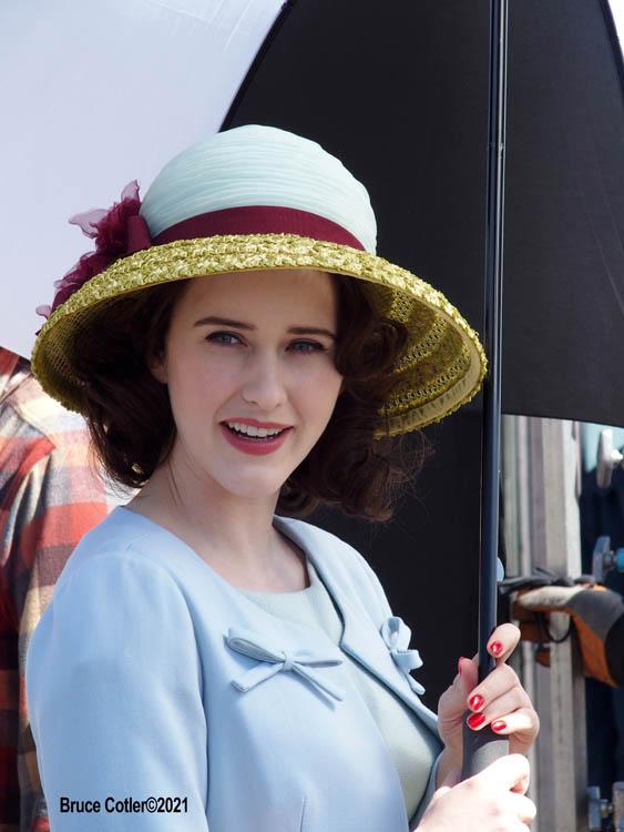 "The Cast of ""The Marvelous Mrs. Maisel"" films season 4 in Coney Island Amusement park"