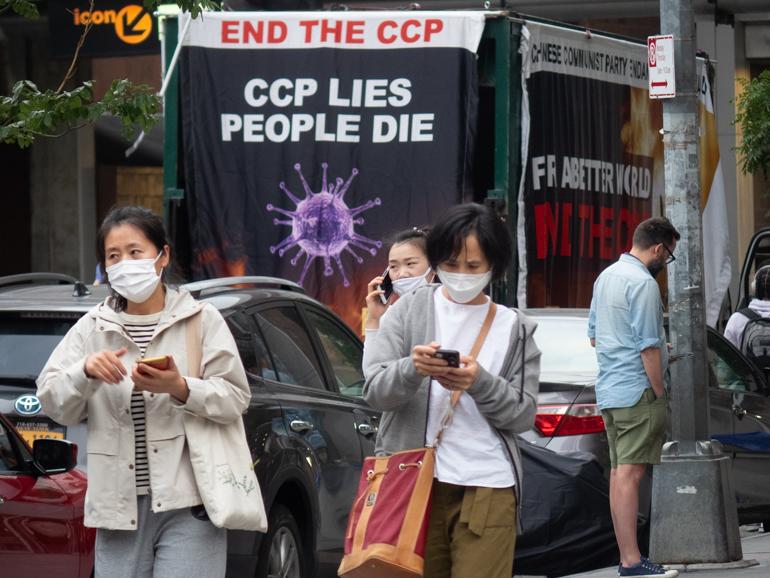 Caravan protesting CCP in Tribeca